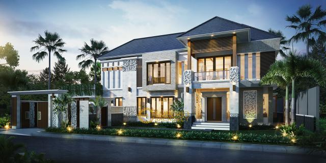 Desain Rumah Villa Bali 2 Lantai Ibu Santa di Probolinggo, Jawa Timur