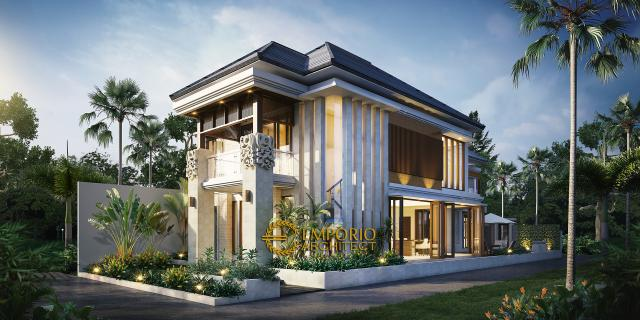 Desain Exterior Rumah Hook Villa Bali 2 Lantai Ibu Uum di Yogyakarta