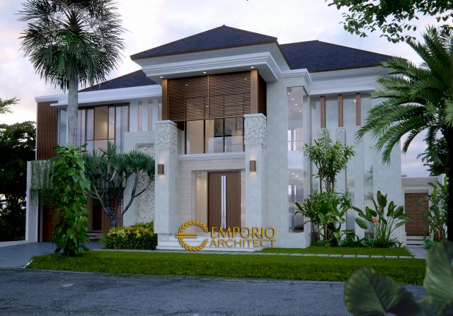 Desain Rumah Villa Bali 2 Lantai Ibu Yusoa di Bekasi, Jawa Barat - Tampak Depan