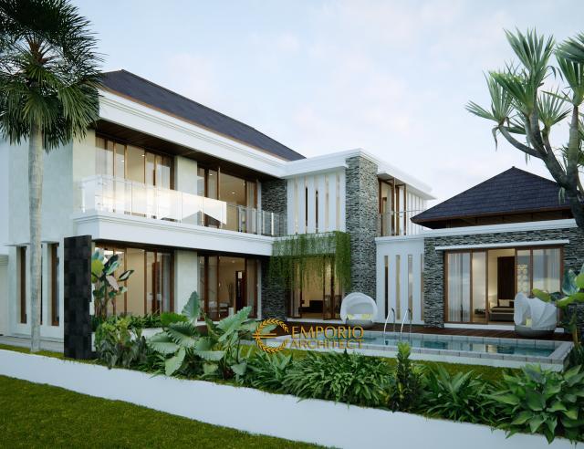 Desain Tampak Belakang Rumah Villa Bali 2 Lantai Ibu Yusoa di Bekasi, Jawa Barat