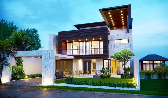 Desain Tampak Depan Rumah Modern 2 Lantai Bapak Andri di Cikarang, Bekasi