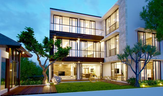 Desain Tampak Belakang Rumah Modern 2 Lantai Bapak Andri di Cikarang, Bekasi