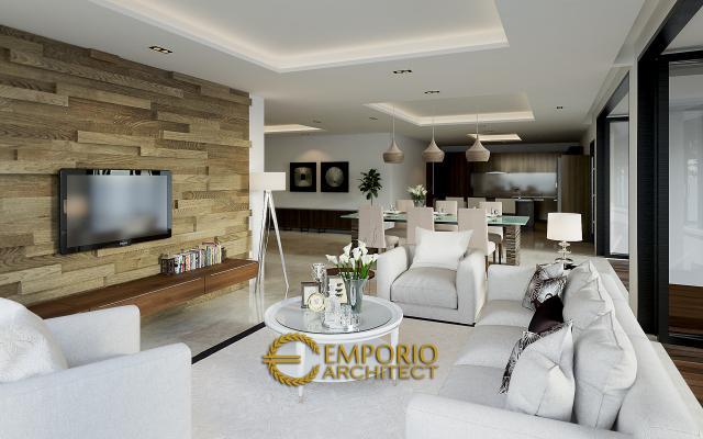 Desain Ruang Keluarga dan Ruang Makan Rumah Modern 2 Lantai Bapak Andri di Cikarang, Bekasi