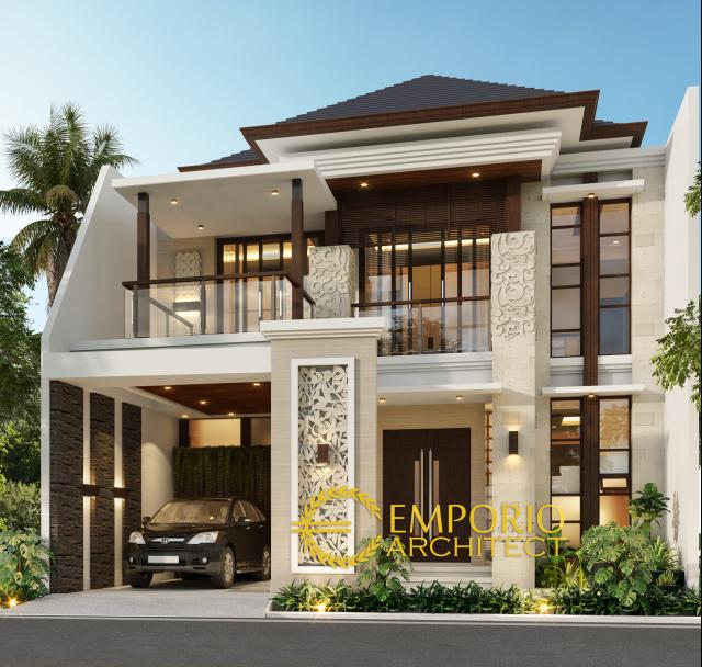Desain Tampak Depan Tanpa Pagar Rumah Villa Bali 2 Lantai Ibu Rita di Jakarta Barat