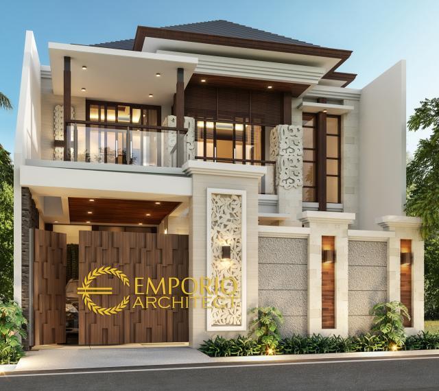 Desain Tampak Depan Dengan Pagar Rumah Villa Bali 2 Lantai Ibu Rita di Jakarta Barat
