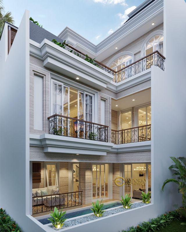 Desain Rumah Mediteran 3 Lantai Bapak Haidar di  Jakarta