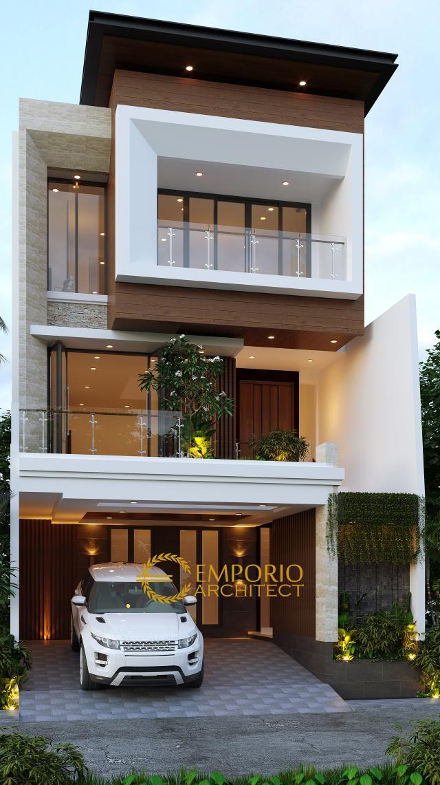 Desain Tampak Depan 1 Rumah Modern 3 Lantai Bapak Daud di Jakarta Barat