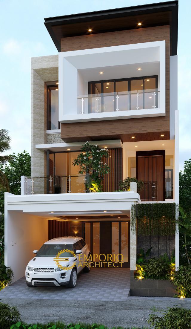 Desain Tampak Depan 2 Rumah Modern 3 Lantai Bapak Daud di Jakarta Barat