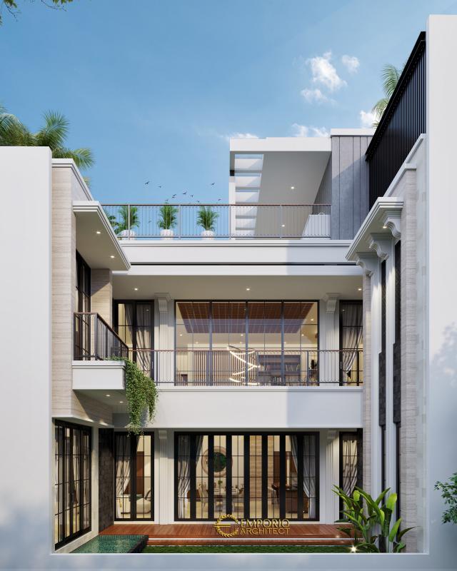 Desain Tampak Belakang Rumah Modern 3 Lantai Bapak John di Jakarta