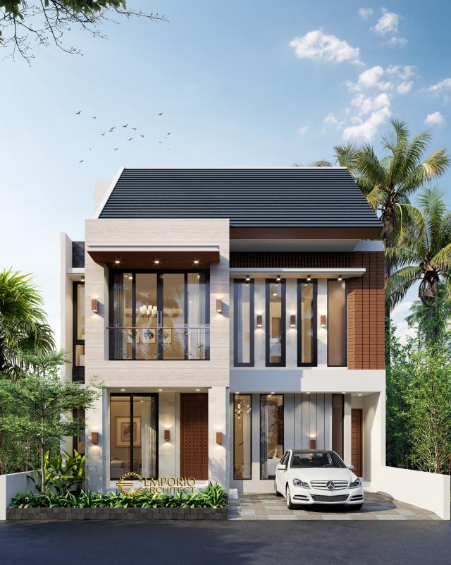 Desain Tampak Depan Rumah Modern 3 Lantai Ibu Melly di Jakarta