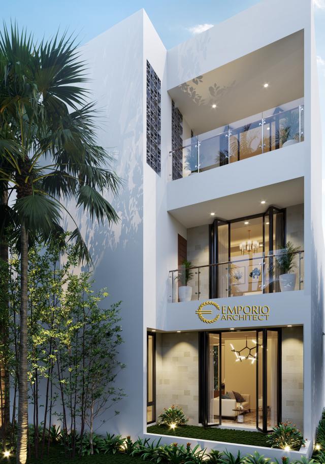 Desain Tampak Belakang Rumah Modern 3 Lantai Ibu Melly di Jakarta