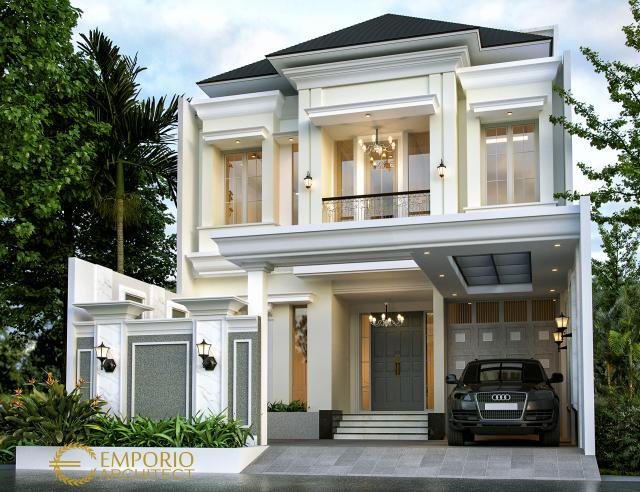 Desain Tampak Depan Rumah Classic 3 Lantai Bapak Rico di Jakarta Selatan