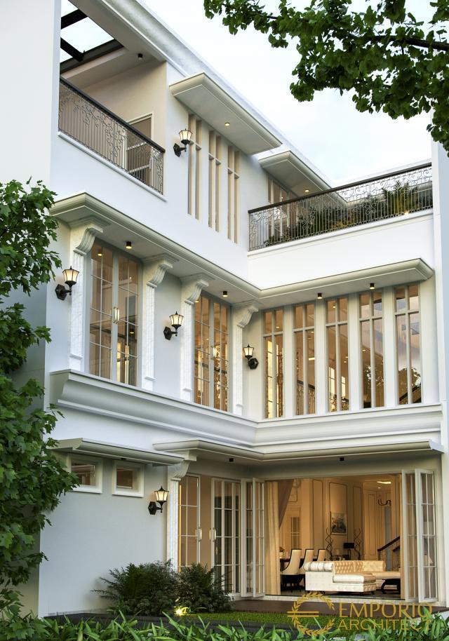 Desain Tampak Belakang Rumah Classic 3 Lantai Bapak Rico di Jakarta Selatan