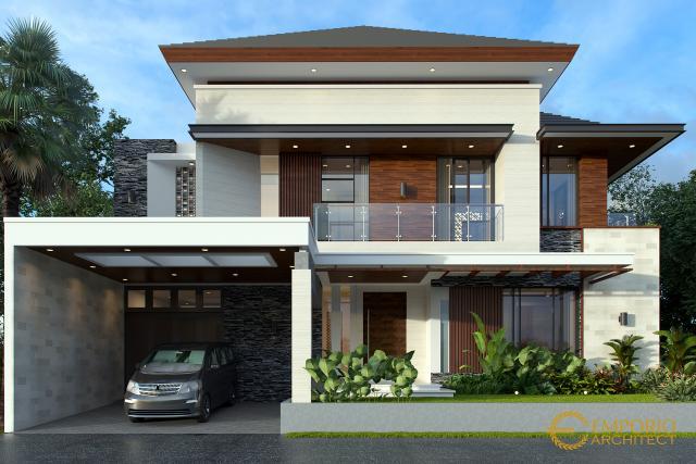 Desain Tampak Depan 2 Rumah Modern 2 Lantai Bapak Dodik di Jakarta Timur