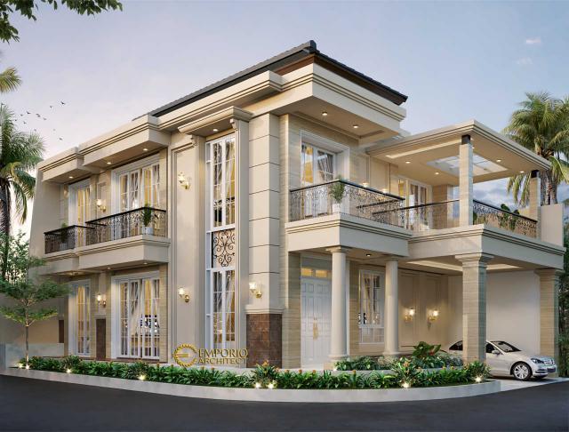 Desain Tampak Depan 1 Rumah Hook Classic 3 Lantai Bapak Will Hans di Jakarta Timur