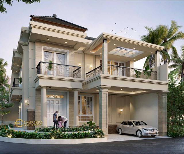 Desain Tampak Depan 2 Rumah Hook Classic 3 Lantai Bapak Will Hans di Jakarta Timur