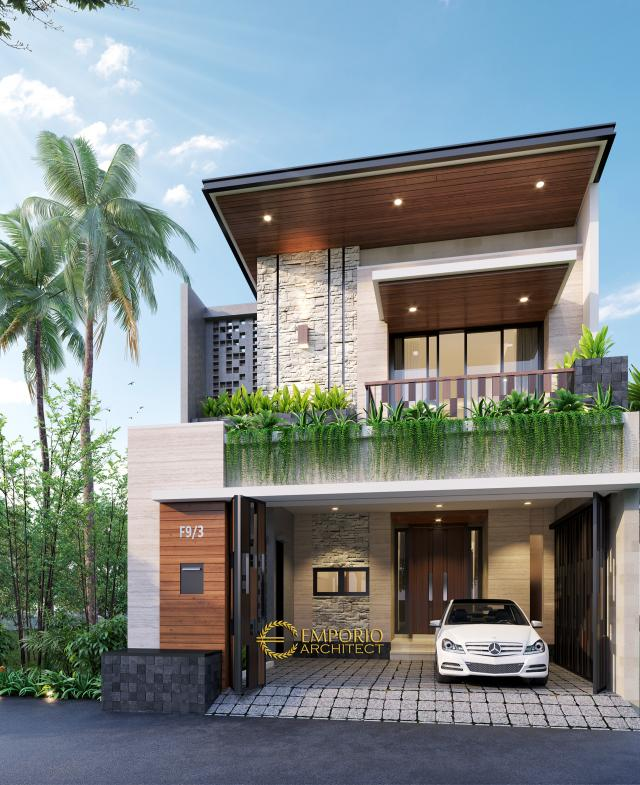 Desain Tampak Depan Rumah Modern 2 Lantai Bapak Andri di Jakarta Timur
