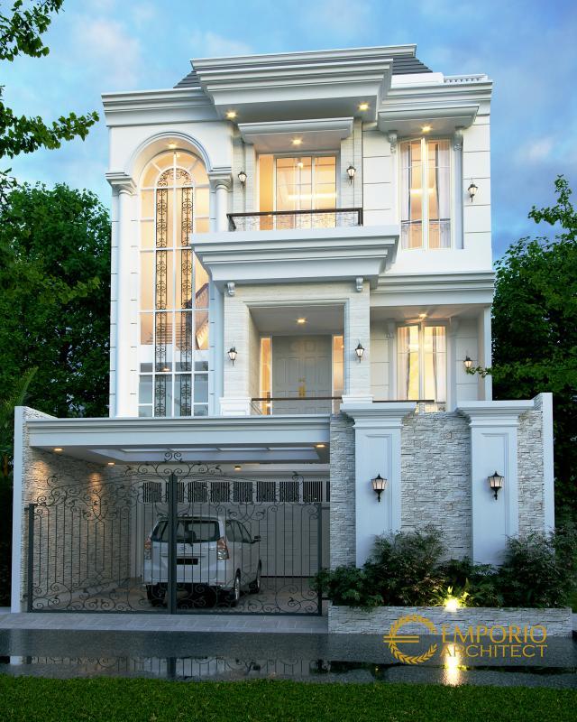 Desain Tampak Depan 1 Rumah Classic 3.5 Lantai Ibu Carmel di Jakarta Utara