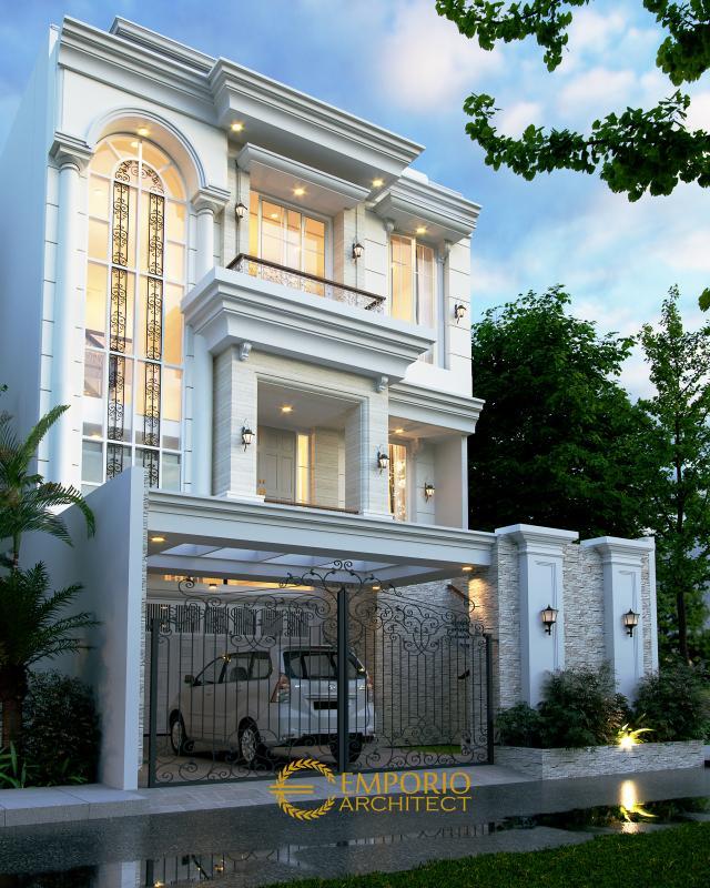Desain Tampak Depan 2 Rumah Classic 3.5 Lantai Ibu Carmel di Jakarta Utara