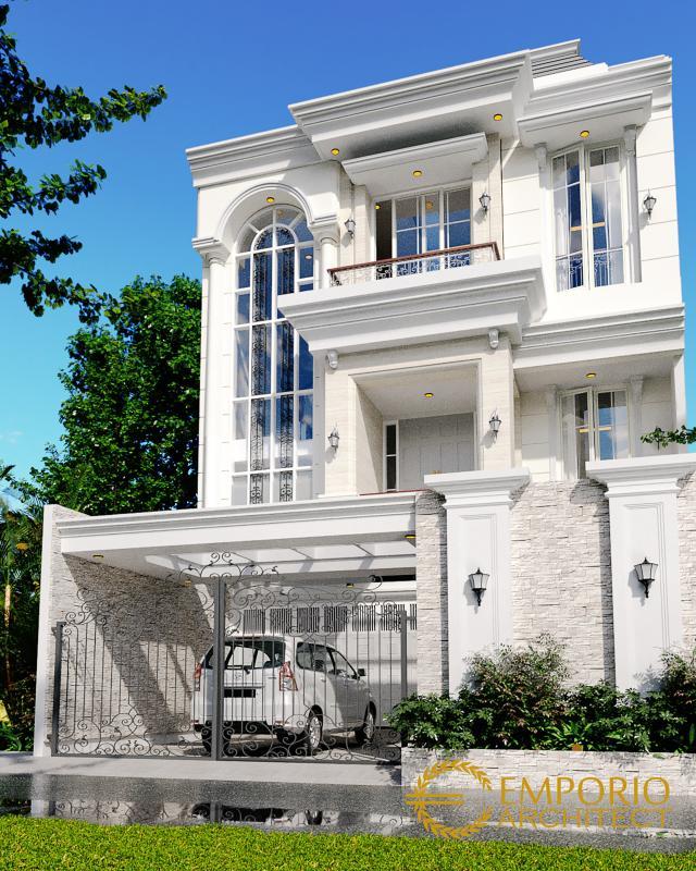 Desain Tampak Depan 3 Rumah Classic 3.5 Lantai Ibu Carmel di Jakarta Utara