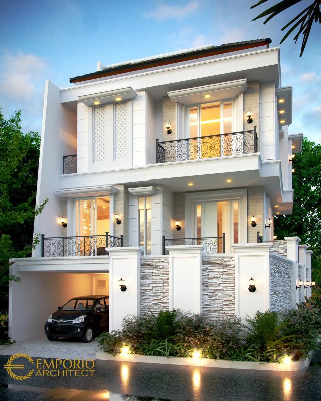 Desain Tampak Depan Rumah Classic 3.5 Lantai Ibu Fitri di Jakarta Utara