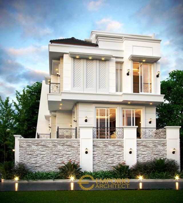 Desain Tampak Samping Rumah Classic 3.5 Lantai Ibu Fitri di Jakarta Utara