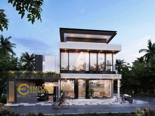 Desain Tampak Depan Rumah Kost, Barber & Coffee Shop Modern 2 Lantai Bapak Deni di Karawang, Jawa Barat
