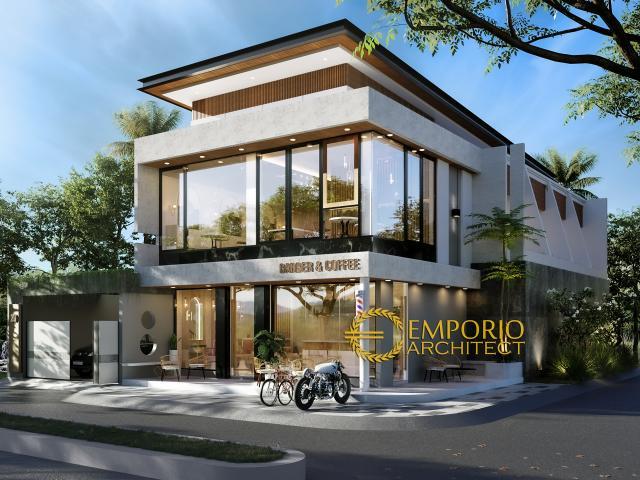 Desain Tampak Samping Rumah Kost, Barber & Coffee Shop Modern 2 Lantai Bapak Deni di Karawang, Jawa Barat