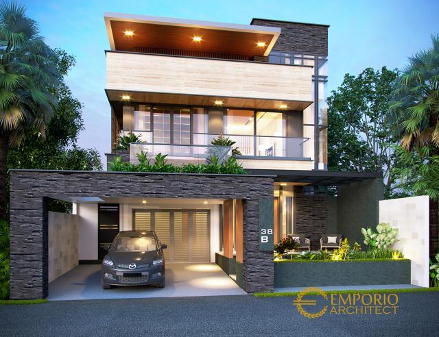 Desain Tampak Depan Rumah Modern 2 Lantai Bapak Hendra di Kediri, Jawa Timur