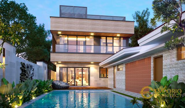 Desain Tampak Belakang Rumah Modern 2 Lantai Bapak Hendra di Kediri, Jawa Timur