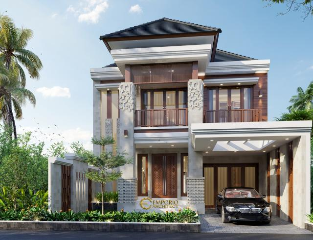 Desain Tampak Depan Rumah Villa Bali 2 Lantai Bapak Haeran di Kota Baru, Kalimantan Selatan