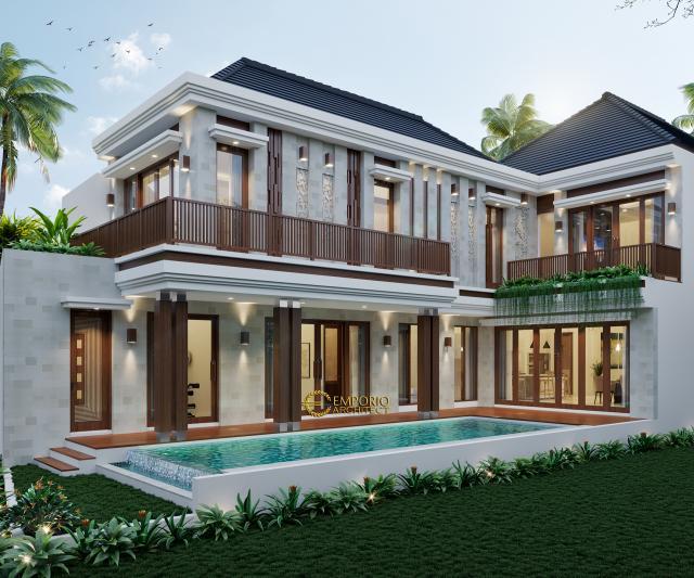 Desain Tampak Belakang Rumah Villa Bali 2 Lantai Bapak Haeran di Kota Baru, Kalimantan Selatan