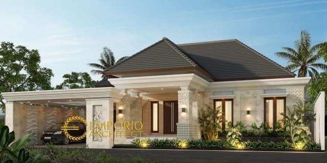 Desain Tampak Depan Rumah Villa Bali 1 Lantai Bapak Ian di Palembang, Sumatera Selatan