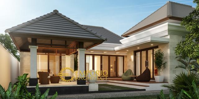 Desain Tampak Belakang Rumah Villa Bali 1 Lantai Bapak Ian di Palembang, Sumatera Selatan