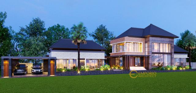 Desain Tampak Depan 1 Rumah Villa Bali 2 Lantai Bapak Guntur di Pandeglang, Banten