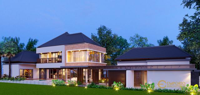 Desain Tampak Depan 2 Rumah Villa Bali 2 Lantai Bapak Guntur di Pandeglang, Banten