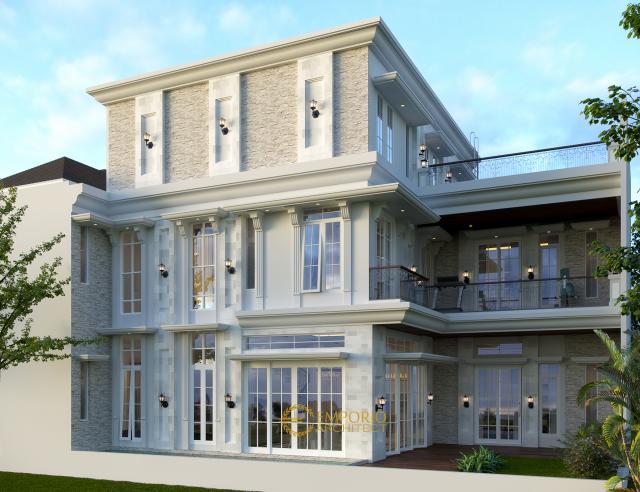 Desain Tampak Belakang Rumah Classic 3 Lantai Bapak Sinaga di Pekanbaru, Riau