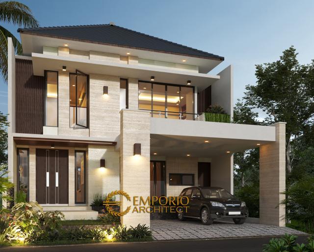 Desain Tampak Depan Rumah Modern 2 Lantai Ibu Ifa di Pekanbaru, Riau