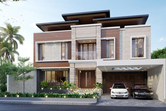 Desain Tampak Depan Rumah Modern 2 Lantai Bapak Harris di Pekanbaru, Riau