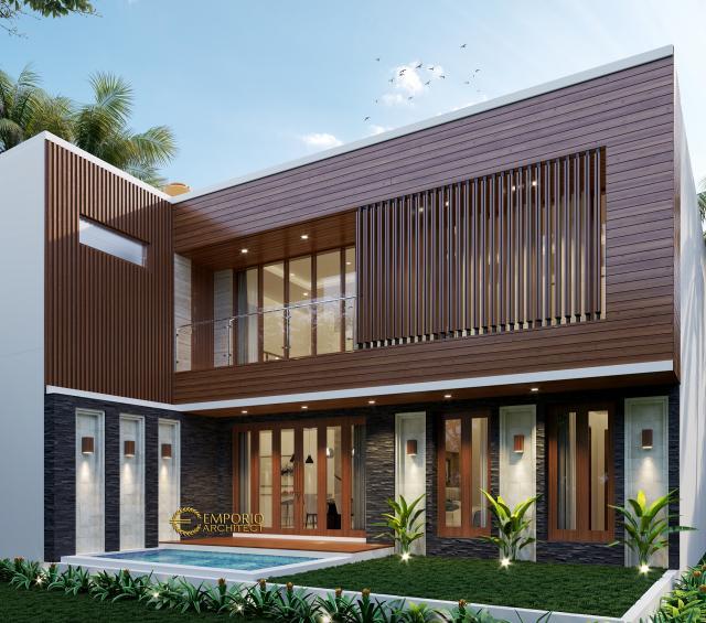 Desain Tampak Belakang Rumah Modern 2 Lantai Bapak Harris di Pekanbaru, Riau
