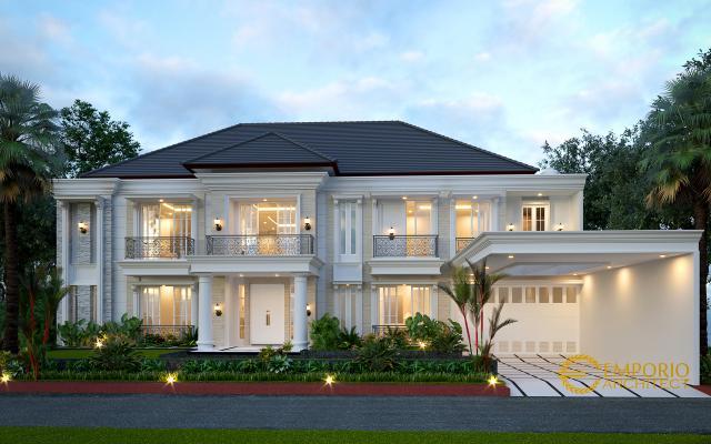 Desain Tampak Depan 1 Rumah Classic 2 Lantai Bapak Pongky di Solo, Jawa Tengah