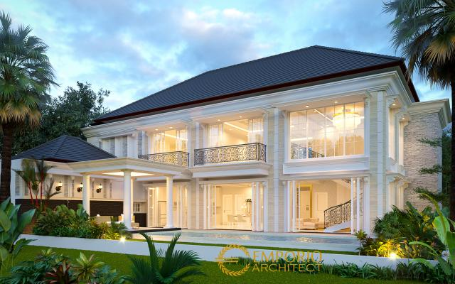 Desain Tampak Belakang 1 Rumah Classic 2 Lantai Bapak Pongky di Solo, Jawa Tengah