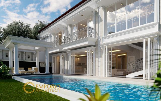 Desain Tampak Belakang 2 Rumah Classic 2 Lantai Bapak Pongky di Solo, Jawa Tengah