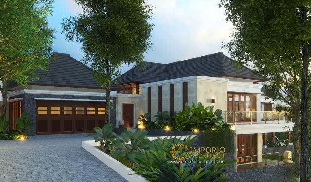 Desain Tampak Depan Rumah Villa Bali 2 Lantai Ibu Rahma di Sumedang, Jawa Barat