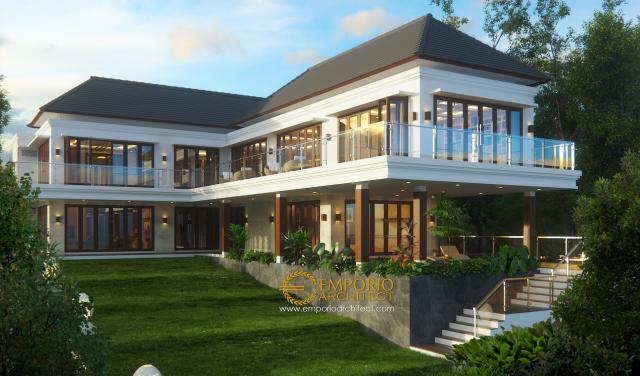 Desain Tampak Belakang Rumah Villa Bali 2 Lantai Ibu Rahma di Sumedang, Jawa Barat