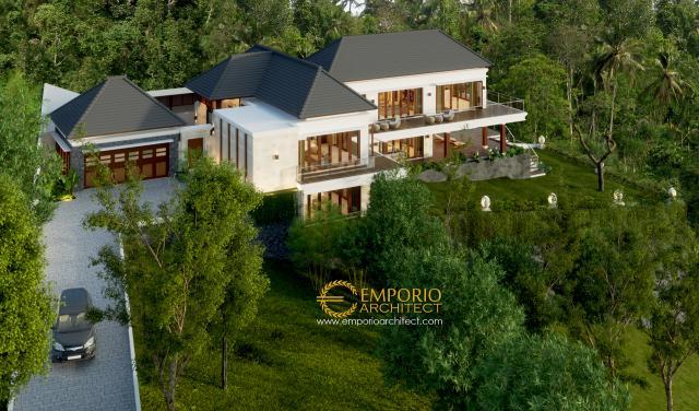 Desain Exterior Rumah Villa Bali 2 Lantai Ibu Rahma di Sumedang, Jawa Barat