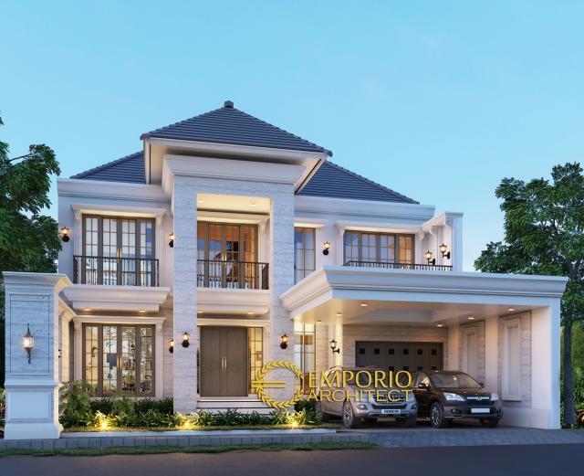 Desain Tampak Depan Rumah Classic 2 Lantai Bapak Andy di Surabaya
