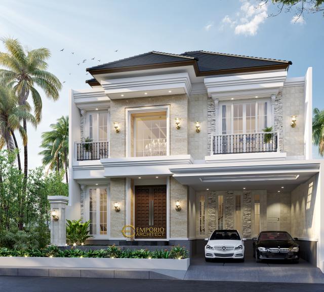 Desain Tampak Depan Rumah Classic 2 Lantai Bapak Haidar di Surabaya