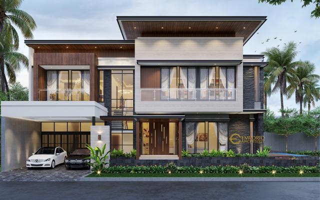 Desain Tampak Depan 1 Rumah Modern 2 Lantai Bapak Bernard di Tangerang, Banten