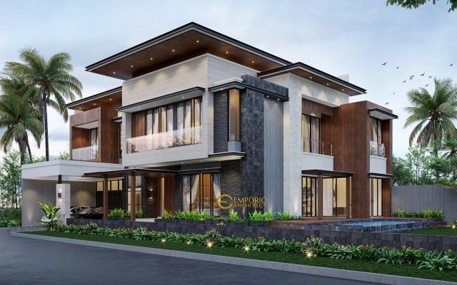 Desain Tampak Depan 2 Rumah Modern 2 Lantai Bapak Bernard di Tangerang, Banten